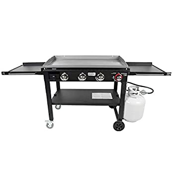 Razor Griddle GGC1643M 37 Inch Outdoor Steel 4 Burner Propane Gas Grill Griddle with Wheels and Top Cover Lid Folding Shelves for BBQ Cooking Black