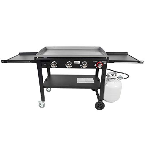 Razor Griddle GGC1643M 37 Inch Outdoor Steel 4 Burner Propane Gas Grill Griddle with Wheels and Top Cover Lid Folding Shelves for BBQ Cooking, Black