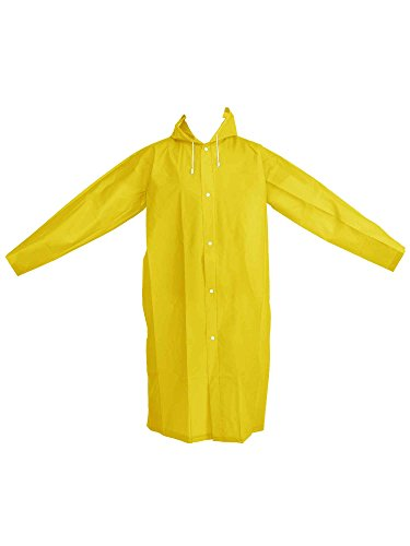 Mudder Adult Portable Raincoat Rain Poncho with Hoods and Sleeves (Yellow)
