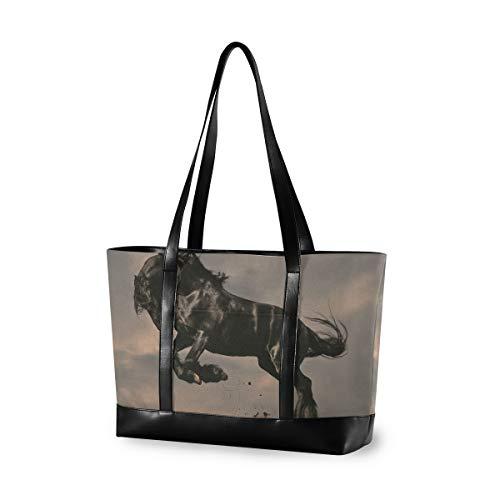 Lässige schwarze friesische Hengst Pferd in Sonnenuntergang Einkaufstasche große Kapazität Computer Handtasche tragen Mode