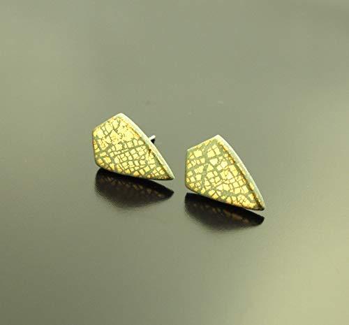 Ohrstecker Crackle Muster Blattgold Raute Drachen grün gold Polymer Clay Fimo Ohrringe Stecker Juvelato