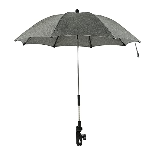 Baby Pram Umbrella, Universal Baby Pushchair Parasol Umbrella, Sun Protection Umbrella for Pram, Stroller, Pushchair and Buggy (Grey)
