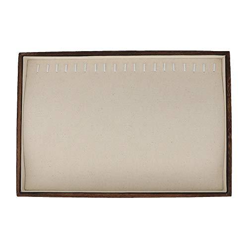 Exhibición de Madera de la joyería de la exhibición de la joyería, Bandeja de Madera de la(Paulownia Charcoal Necklace Plate (Cotton White))