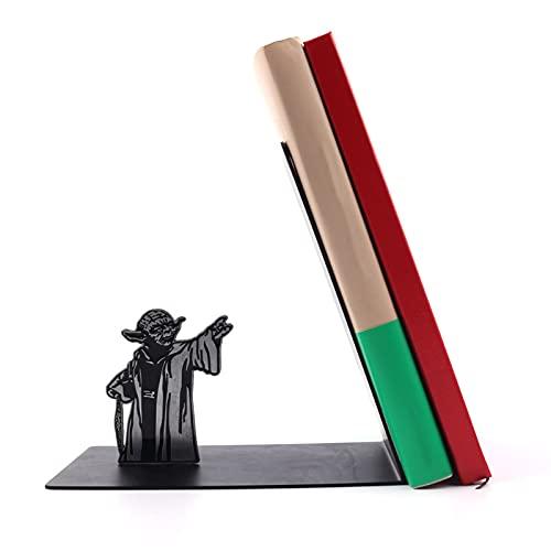 Sujetalibros de metal resistente en forma de L de color negro, soporte para escritorio de oficina, 2021 nuevo regalo creativo para papá y amante (Star Wars Yoda) negro