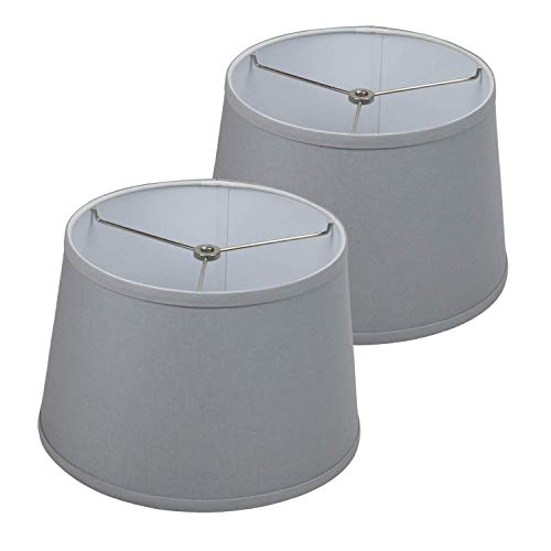 FenchelShades.com Set of 2 Lampshades 10' Top Diameter x 12' Bottom Diameter x 8' Slant Height with Washer (Spider) Attachment for Lamps with a Harp (Linen Iron)