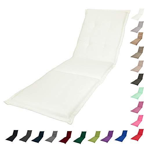 KOPU® Auflage Gartenliege Prisma Ivory | Liegenauflagen für Gartenmöbel | Weiß Liegen Kissen 195 x 60 cm | 19 einfache Farben | Robuster Schaumstoff für zusätzlichen Komfort