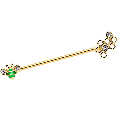 """Body Candy Womens 14G PVD Steel Helix Cartilage Earring Honeycomb Green Bee Industrial Barbell 1 1/2"""""""