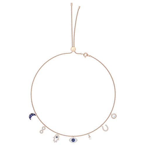 Swarovski Symbolic Collection Women's Choker-Style Necklace, with Seven Blue and White Crystal Charms and Rose-Gold Tone Plated Chain