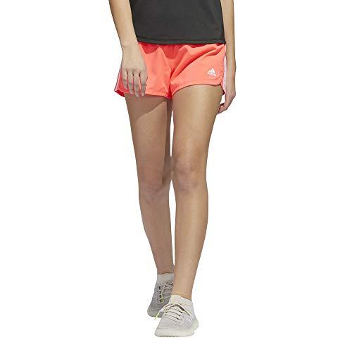 adidas Pacer - Pantalón corto de 3 rayas para mujer - FSM72, Pacer - Pantalones cortos con 3 rayas, XXS, Señal rosa/blanco.