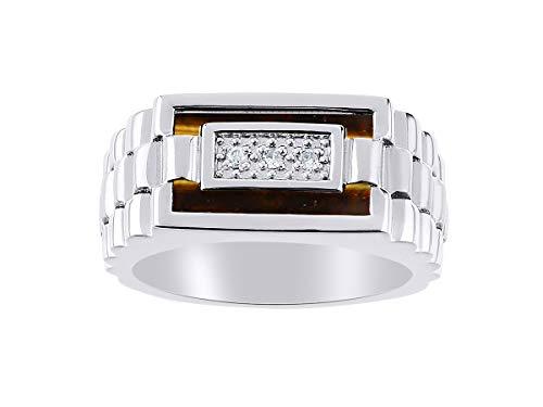 Juego de anillos de oro blanco de 14 quilates para hombre con diamantes y ojo de tigre La piedra es especial para este anillo. Estilo de diseñador