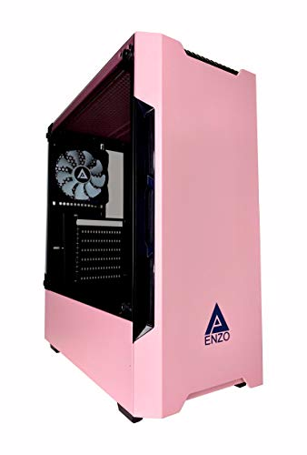 Apevia ENZO-PK Mid Tower Gaming Case with 1 x Tempered Glass Panel, Top USB3.0/USB2.0/Audio Ports, 1 x Black/White Fan, Pink Frame