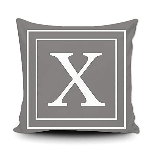Funda de almohada gris con monograma de letras blancas y rayas del alfabeto inglés inicial decorativa cuadrada funda de cojín para cama, sofá de 50,8 x 50,8 cm, impresión de doble cara