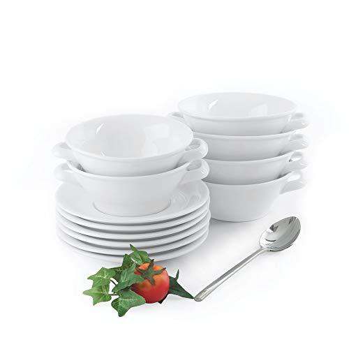 Holst Porzellan ACC 06 FA2 Tazza da zuppa 0,45 l con piattino, Set da 12 Pezzi, per 6 Persone, Porcellana