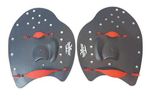 SWIMXWIN Palette PALMARI Power Nuoto Professionale Forma ergonomica Allenamento Piscina corredate da Elastico (Large, Nero/Rosso)
