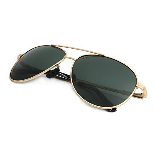 ZMGAW Gafas De Sol De Titanio Hombres Cristal Polarizado Lente Verde Piloto...