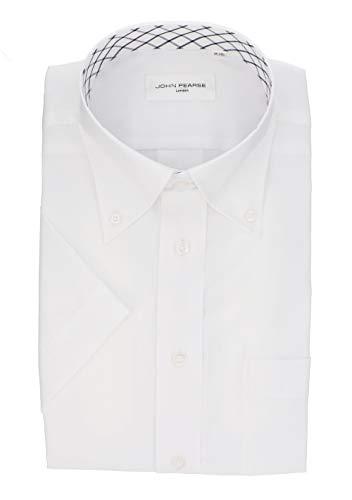 [コナカ] 形態安定加工/軽い着心地でストレスフリーシャツ/軽い着心地でストレスフリーシャツ/クールビズ/スリムフィット【たるみが出ないシルエット】/【襟立ちがキレイなBIZスナップボタン】 /メンズワイシャツ YS-JP-BLACK-半袖-軽涼 白ドビー無地柄/半袖/メンズワイシャツ SP_YS-EHJC15-01Z 首回 49cm半袖(日本サイズ5L相当)