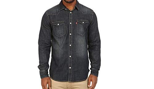 Levi's Men's Barstow Western Pearl Snap Front Denim Shirt (Medium, Dark Rinse)