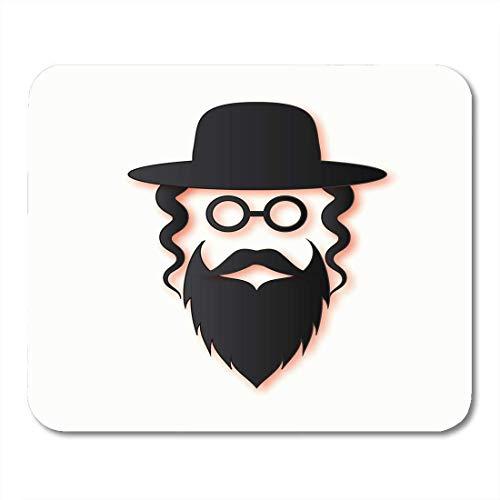 Alfombrillas de ratón hombres judíos en el tradicional sombrero de judío ortodoxo gafas de bigote bloqueos laterales y barba hombre israel personas alfombrilla de ratón para cuadernos, Computadoras de