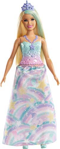 Barbie- Dreamtopia Bambola Principessa Bionda con Abito Blu e Tiara, FXT14