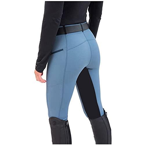 URIBAKY - Pantaloni da equitazione da donna, a vita alta, per sport, yoga, equitazione, mutandine da equitazione, pantaloni da jogging, taglia grande, blu, M