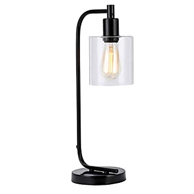 "CO-Z Industrial Style Lamp, Rustic Iron Lantern Glass Desk Lamp for Home Office, 3.5"", Simple Black Modern Table Lamp with Clear Glass Shade for Bedside Nightstand, UL Listed"