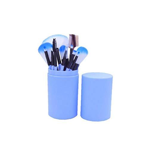 Pinceau de maquillage Set débutants Ensemble complet de Set Outils de maquillage Barrel brosse de maquillage poignée en plastique Barrel Powder Puff Correcteur Ombre à paupières pinceau blush Blue