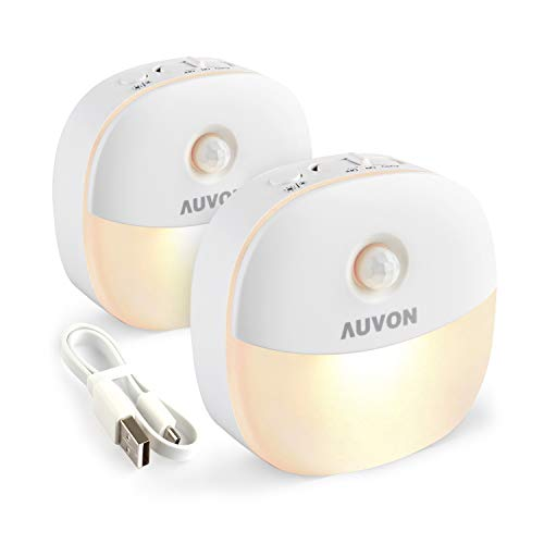 AUVON Rechargeable Motion Sensor Night Light, Warm White LED Stick-On Closet Light with Dusk to Dawn Sensor, Adjustable Brightness for Wall, Stairs, Cabinet, Hallway (2 Pack)