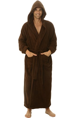 Alexander Del Rossa Mens Terry Cloth Cotton Robe with Hood, Big and Tall Bathrobe, Large-XL Chestnut Brown (A0127CNTXL)