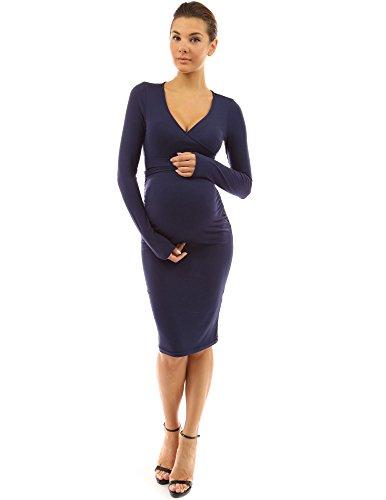 PattyBoutik Mama V Neck Tie Bow Maternity Dress (Navy Blue M)
