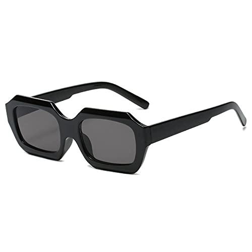 WANGZX Gafas De Sol Rectangulares Retro De Moda para Mujer Gafas De Sol Cuadradas con Montura Pequeña Gafas De Sol Steampunk Retro para Mujer Uv400 C1Black