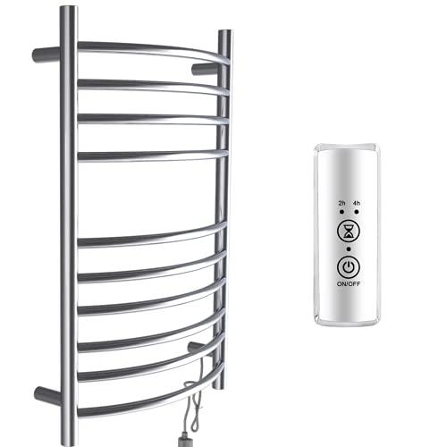 bbee.tech Towel Warmer 10 Bar Electric Heated Towel Rack Wall Mount Plug-in/Hardwired Curved Heated Towel Rail Mirror Polish