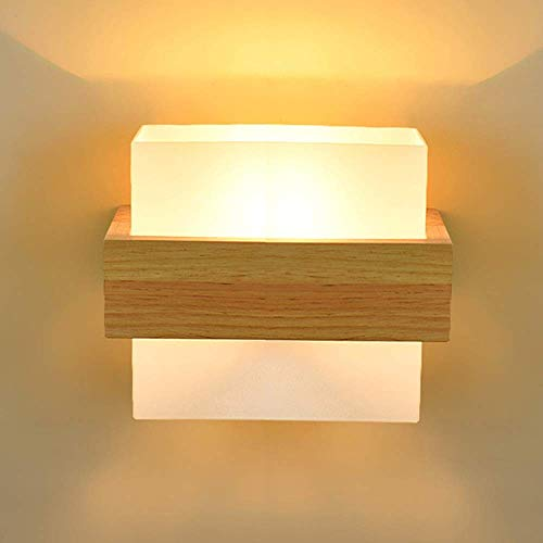 YANQING duurzame Scandinavische moderne minimalistische creatieve muur lamp glas lampenkap hout nachtlampje verlichting lampen 5-25 vierkante meter slaapkamer studie woonkamer tentoonstelling hal gang
