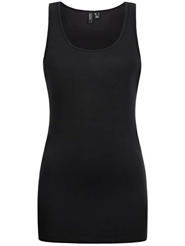 Vero Moda Vmmaxi My Soft Long Tank Top Noos Camiseta sin Mangas, Negro (Black), 40 (Talla del Fabricante: Large) para Mujer