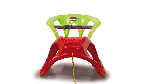 Jamara 460366 - Snow Play Schlitten mit Lehne Snow-Star 90cm rot - Rückenlehne inkl. Sicherheitsband, ergonomischer Sitz, Metallkufen, Kippschutz, robuster Kunststoff, Seil mit Griff zum Ziehen, 3KG
