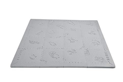 LuBabymats Mini - Alfombra puzzle de viaje para bebés, suelo extra acolchado de Foam (EVA). Medida: 110x110 cm. Color Gris