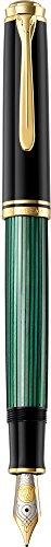 Pelikan Línea Souveraen M800 Clásico Pluma Estilográfica, verde/negro, detalles de oro, plumín...