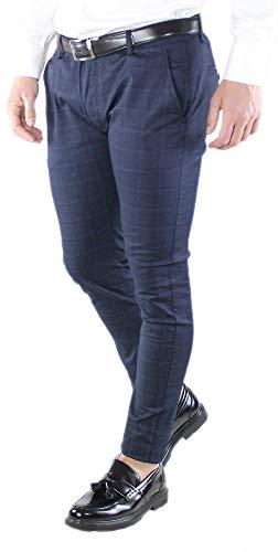 pantaloni uomo quadri scozzesi Ciabalù Pantaloni Uomo Eleganti in Cotone a Quadri Slim Fit Blu Grigio Elasticizzati Pantalone Chino Leggero Scozzese (Blu