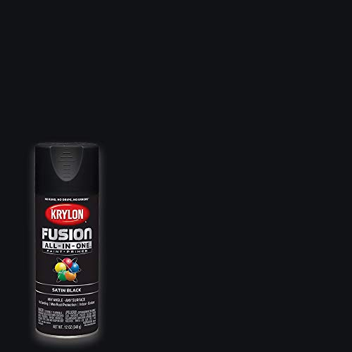 Krylon K02732007 Fusion All-In-One Spray Paint for Indoor/Outdoor Use, Satin Black