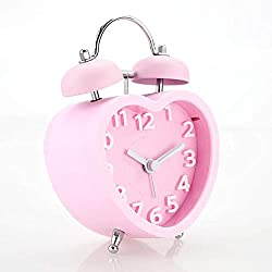 FAY Twin Bell Alarm Clock,Heart-Shaped Children's Double Bell Alarm Clock Stainless Steel Mini Silent Clock Stereo Table Clock,Pink