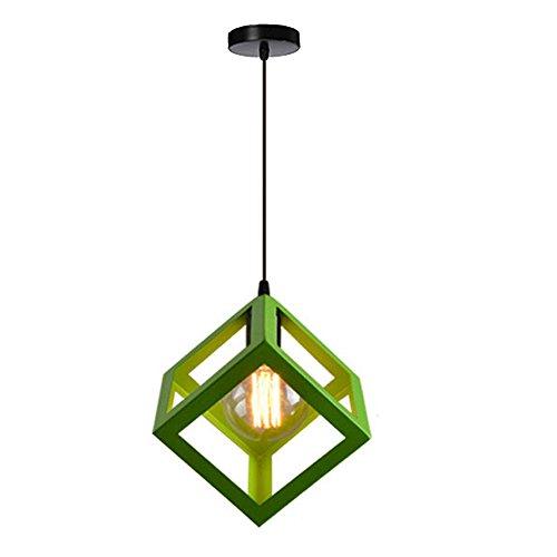 Creativa Lampada a sospensione Industriale vintage Lampadario a cubo in metallo con cavo regolabile da 100 cm Lampadario per cucina Sala da pranzo Soggiorno, Verde