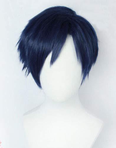 My Boku no Hero Academia Iida Tenya Short Blue 3/7 Estilo Cosplay resistente al calor Disfraz Peluca + Gorra de peluca My Hero Academia como la imagen