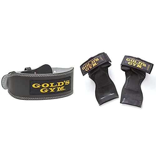 ゴールドジム(GOLD`S GYM) トレーニングレザーベルトBK M G3368 m(75~85cm)ゴールドジム(GOLD`S GYM) パワーグリップ 3710 プロ M (手首の太さ約18cm) セット