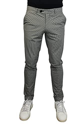 RRD Roberto Ricci Designs Pantalón Chino para Hombre Micro Estampado Pata de Gallo Modelo 21209 Color Negro/Blanco. (48)