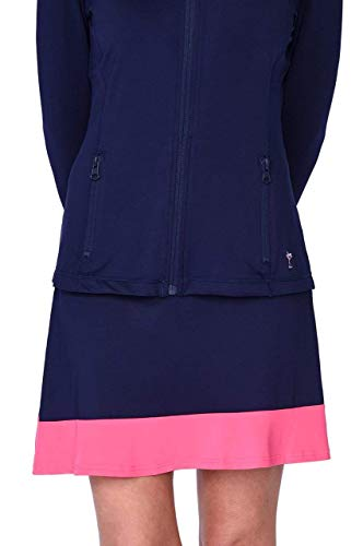 GOLFTINI Women's Golf Ruffle Skort Activewear | Pink & Navy | Workout Pull On Golf Skort