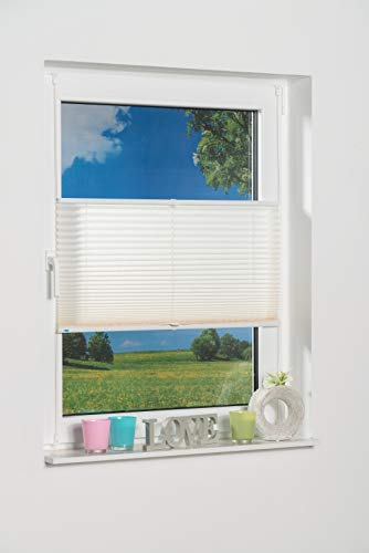 K-home Klemmfix-Plissee 80 x 130 cm (B x L) Creme Lichtschutz +++ Moderne Crushed Optik +++