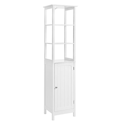 VASAGLE Floor Cabinet, Multifunctional Bathroom Storage Cabinet with 3 Tier Shelf, Free Standing Linen Tower, Wooden, White