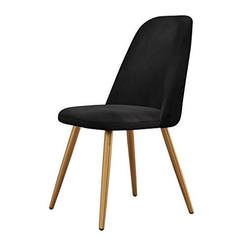 Silla de cocina, comedor, mostrador, sala de estar, silla de esquina, patas de acero, sillas de recepción de terciopelo con respaldo y asiento acolchado (color negro+patas doradas)