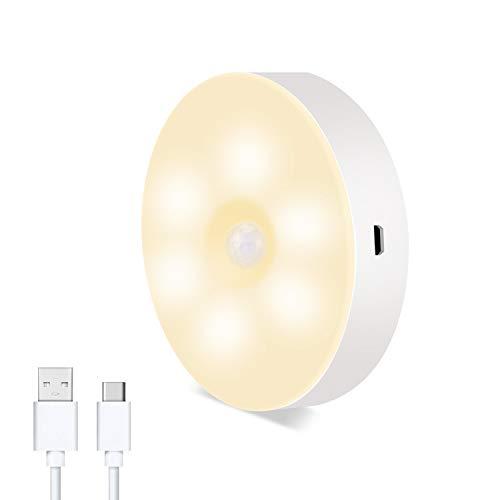 Hansiro LED Nachtlicht mit Bewegungsmelder   USB aufladbare Nachtlampe mit Magnet für Schlafzimmer, Treppenhaus, Garage, Schrank   Warmweiß