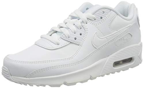 Nike Air MAX 90 LTR (GS), Zapatilla de Correr Mujer, White/White-Metallic Silver-White, 39 EU