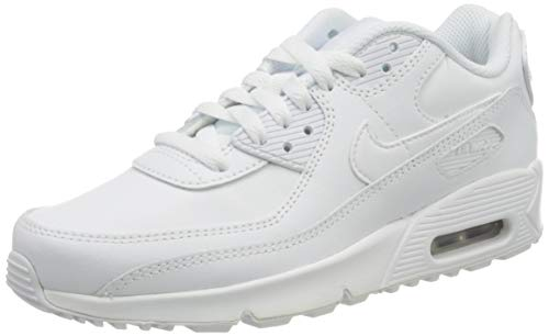 Nike Girls AIR MAX 90 LTR (GS) Running Shoe, White/White-Metallic Silver-White,38 EU